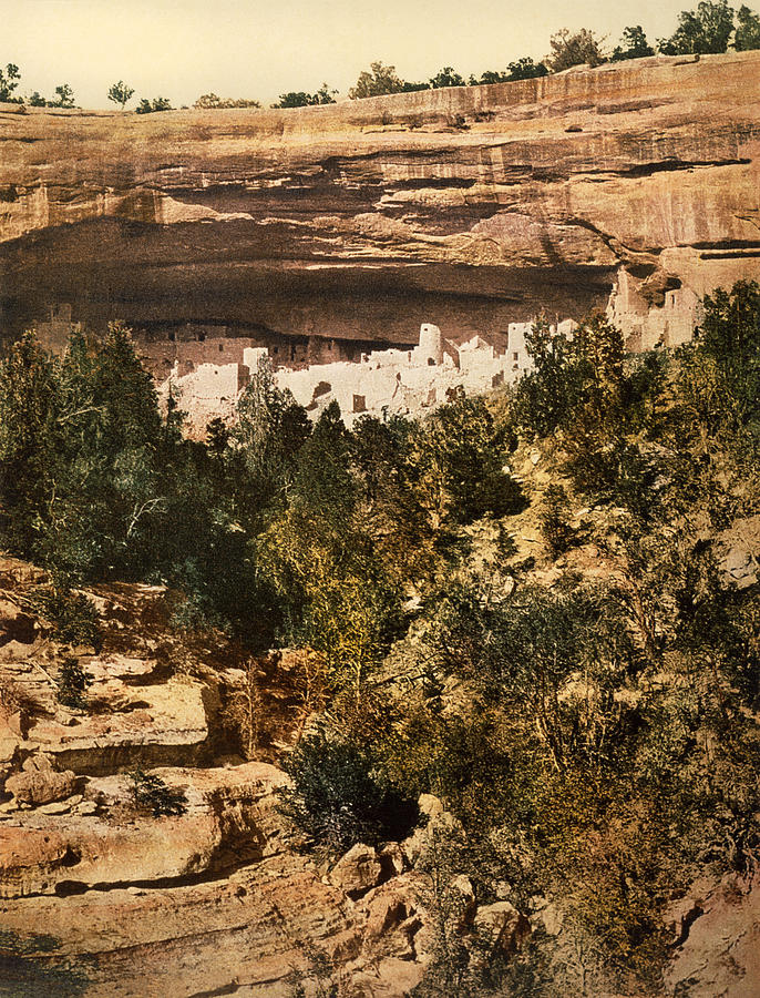 1890's Photograph - Mesa Verde Cliff Palace by Underwood Archives