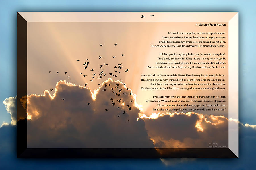 Christian Photograph - Message From Heaven by Carolyn Marshall