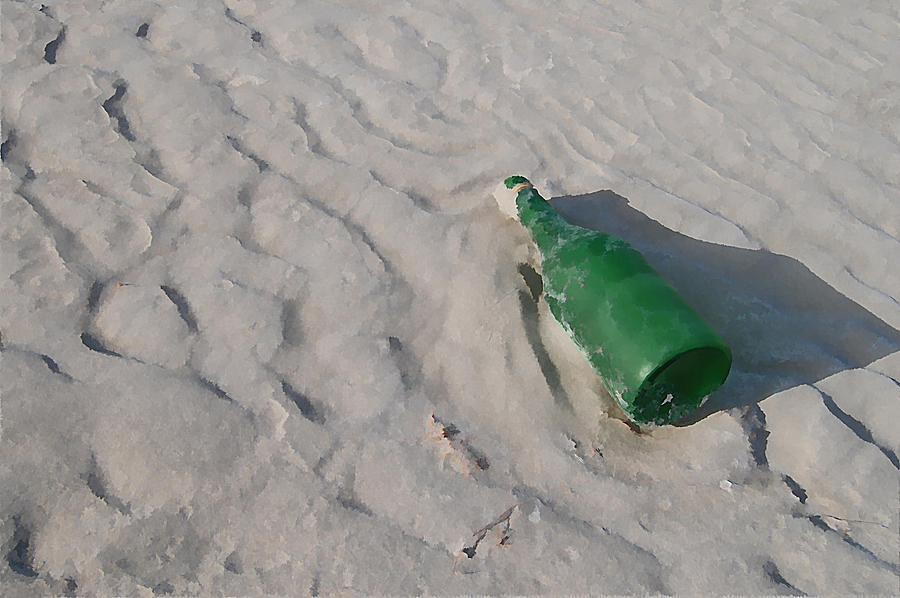Beach Digital Art - Message In A Bottle by Peter Waters