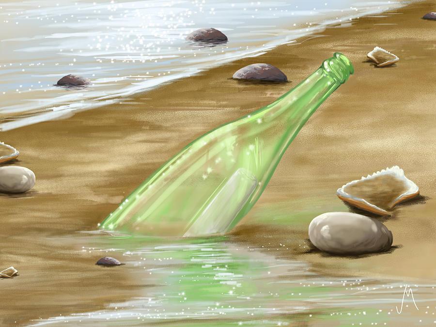Beach Painting - Message by Veronica Minozzi