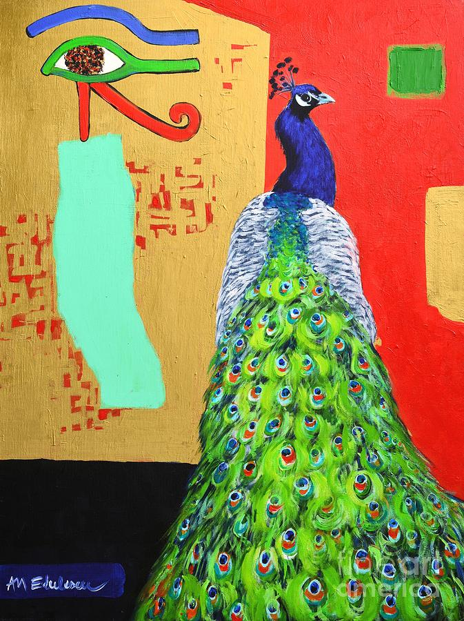 Peacock Painting - Messages by Ana Maria Edulescu