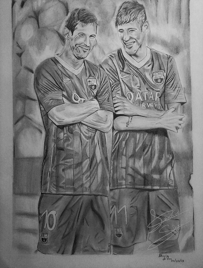 Messi E Neymar Drawing by Flavio Silva FlavioSs