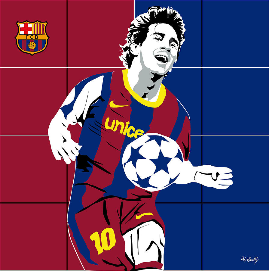 Barcelona Painting - messi Football by Roby Marelly