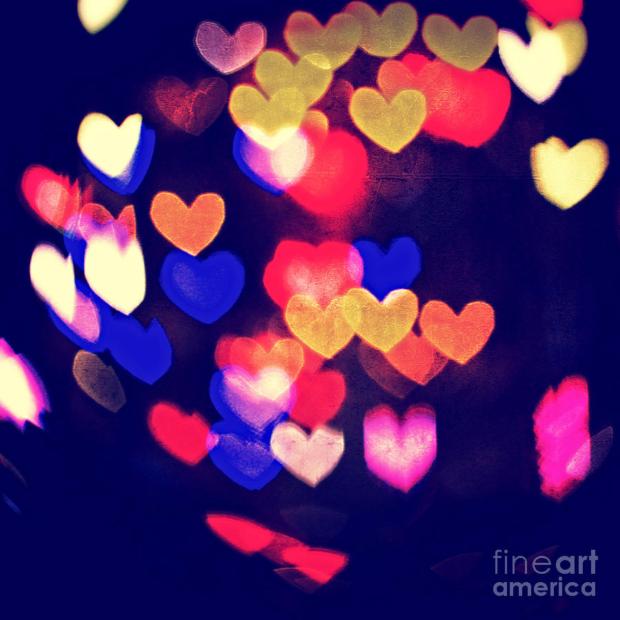Abstract Photograph - Messy And Colorful Bokeh Hearts With Vintage Feel IIi by Beverly Claire Kaiya