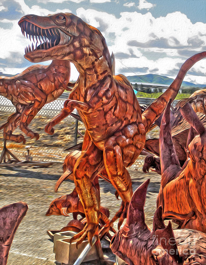 Dinosuar Painting - Metal Dinosaurs - 03 by Gregory Dyer