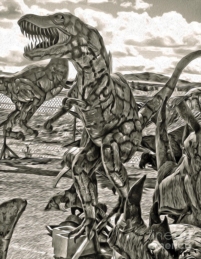 Metal Sculpture Painting - Metal Dinosaurs - 04 by Gregory Dyer