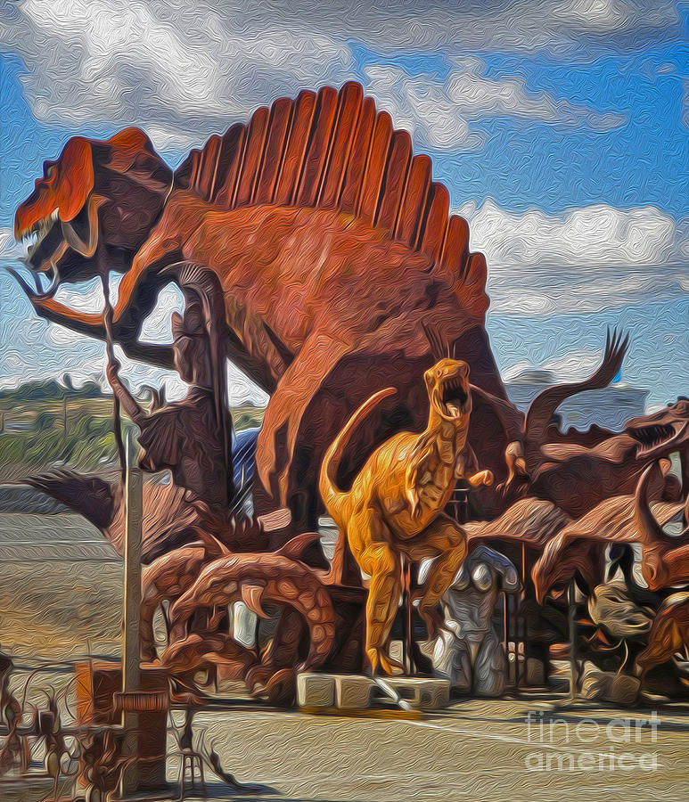 Dinosuar Painting - Metal Dinosaurs - 05 by Gregory Dyer