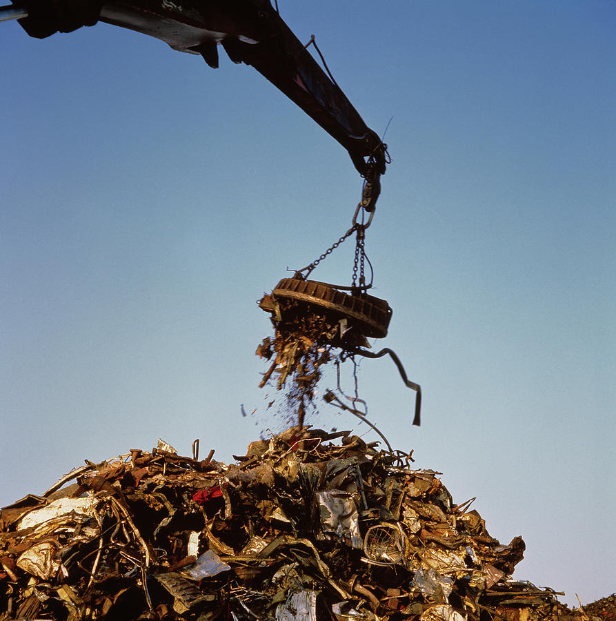 Electromagnet Photograph - Metal Scrap Heap by Alex Bartel/science Photo Library