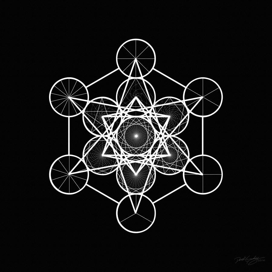 Sacred Digital Art - Metatron Wheel Cube by Derek Gedney