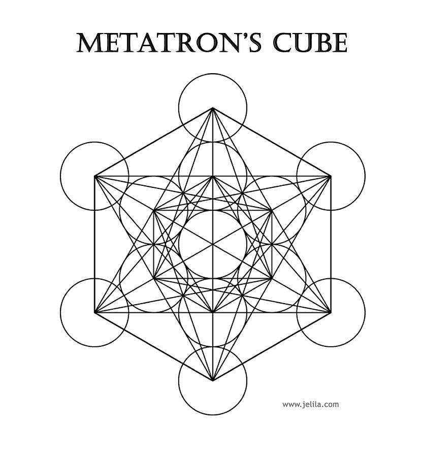 Sacred Geometry Painting - Metatrons Cube - White by Jelila Jelila