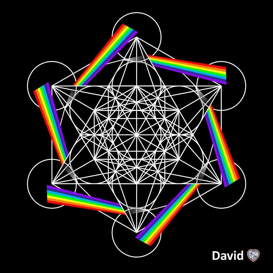 Metatron Digital Art - Metatrons Rainbow Healing Cube by David Diamondheart