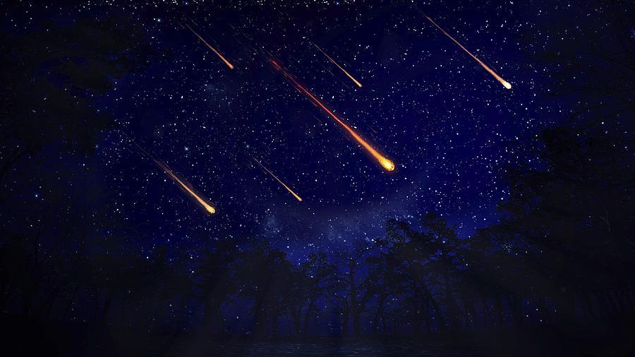 Meteor shower, artwork Drawing by Andrzej Wojcicki