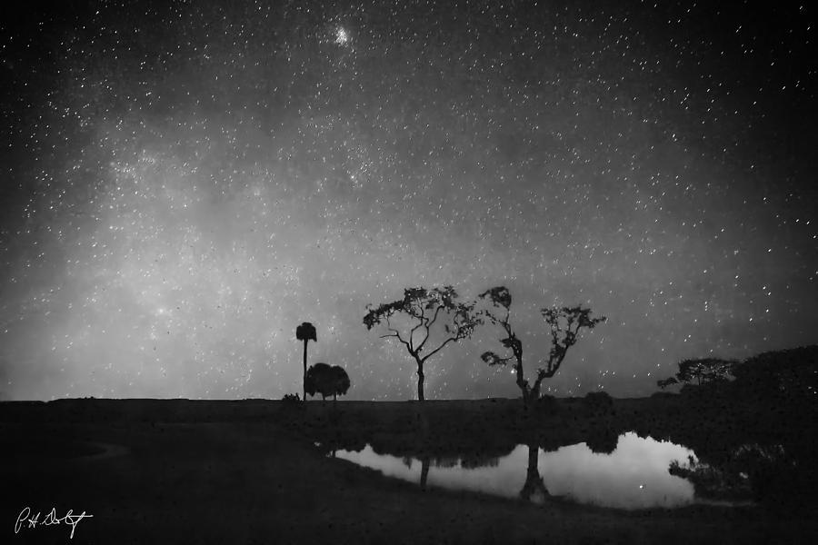 Meteor Shower In Black And White Digital Art