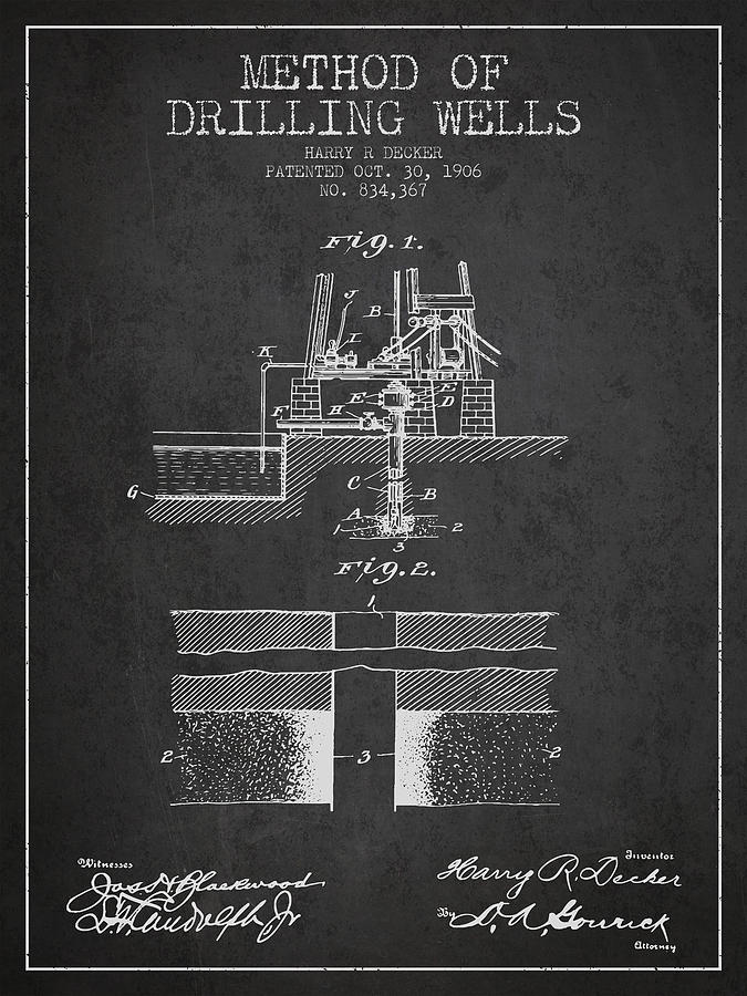 Oil Digital Art - Method Of Drilling Wells Patent From 1906 - Dark by Aged Pixel