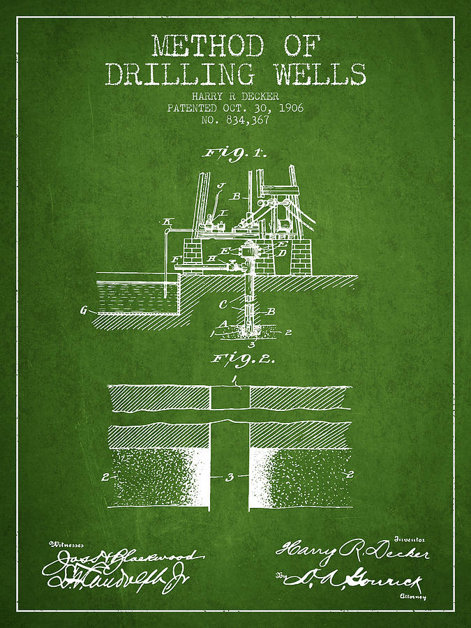 Oil Digital Art - Method Of Drilling Wells Patent From 1906 - Green by Aged Pixel