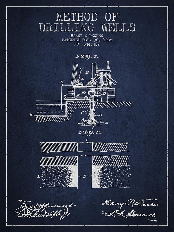 Oil Digital Art - Method Of Drilling Wells Patent From 1906 - Navy Blue by Aged Pixel