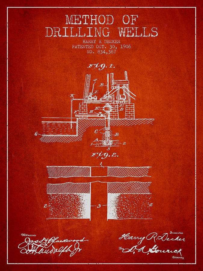 Oil Digital Art - Method Of Drilling Wells Patent From 1906 - Red by Aged Pixel