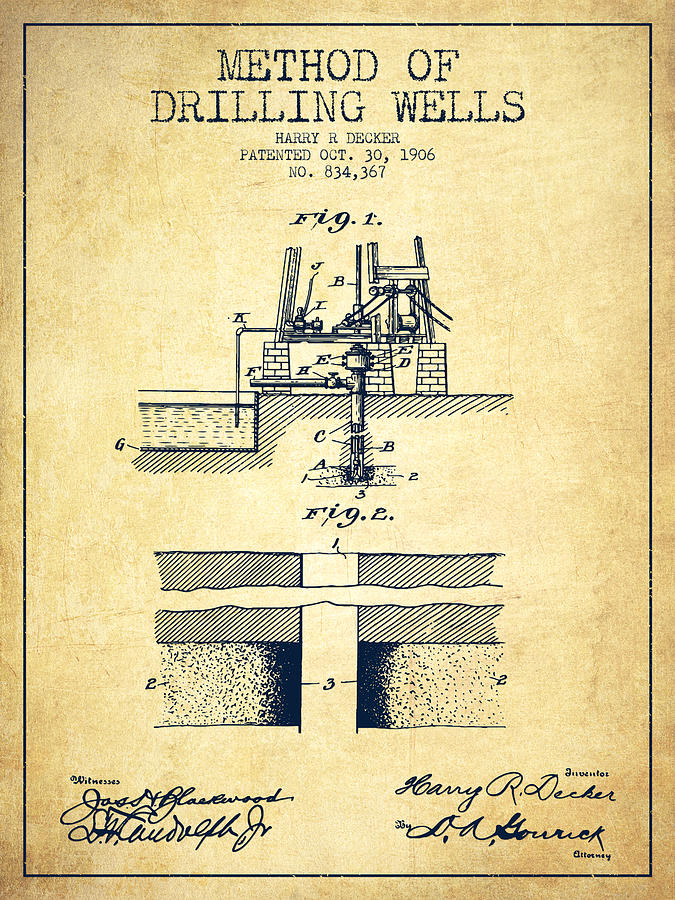 Oil Digital Art - Method Of Drilling Wells Patent From 1906 - Vintage by Aged Pixel