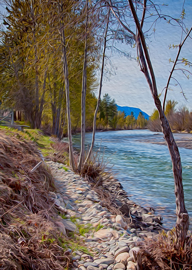 North Cascades Painting - Methow River Coming From Mazama by Omaste Witkowski