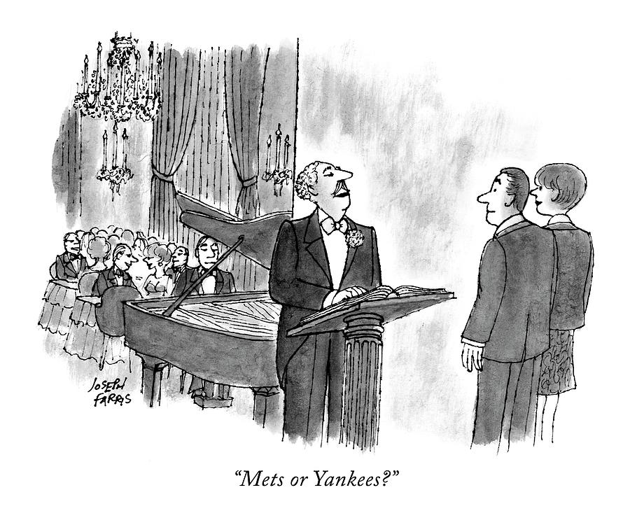Mets Or Yankees? Drawing by Joseph Farris