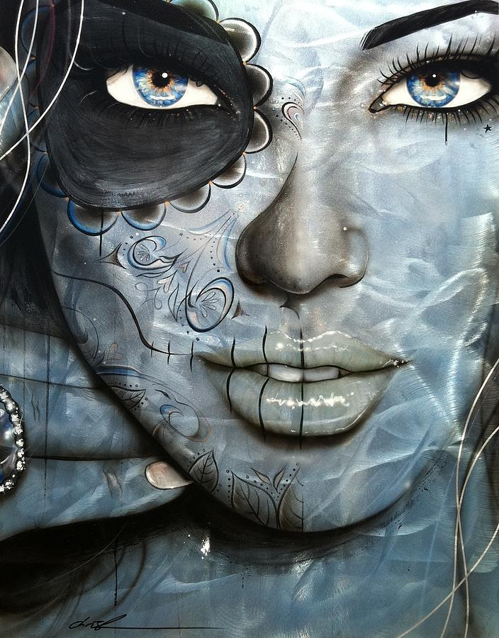 Sugar Skull Painting - Metallic Messiah by Christian Chapman Art