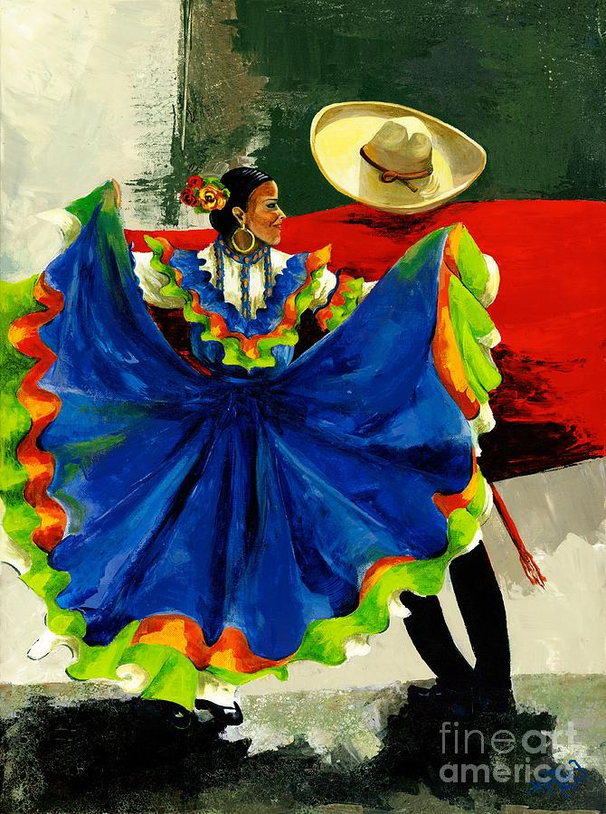 Canvas Prints Painting - Mexican Dancers by Elisabeta Hermann