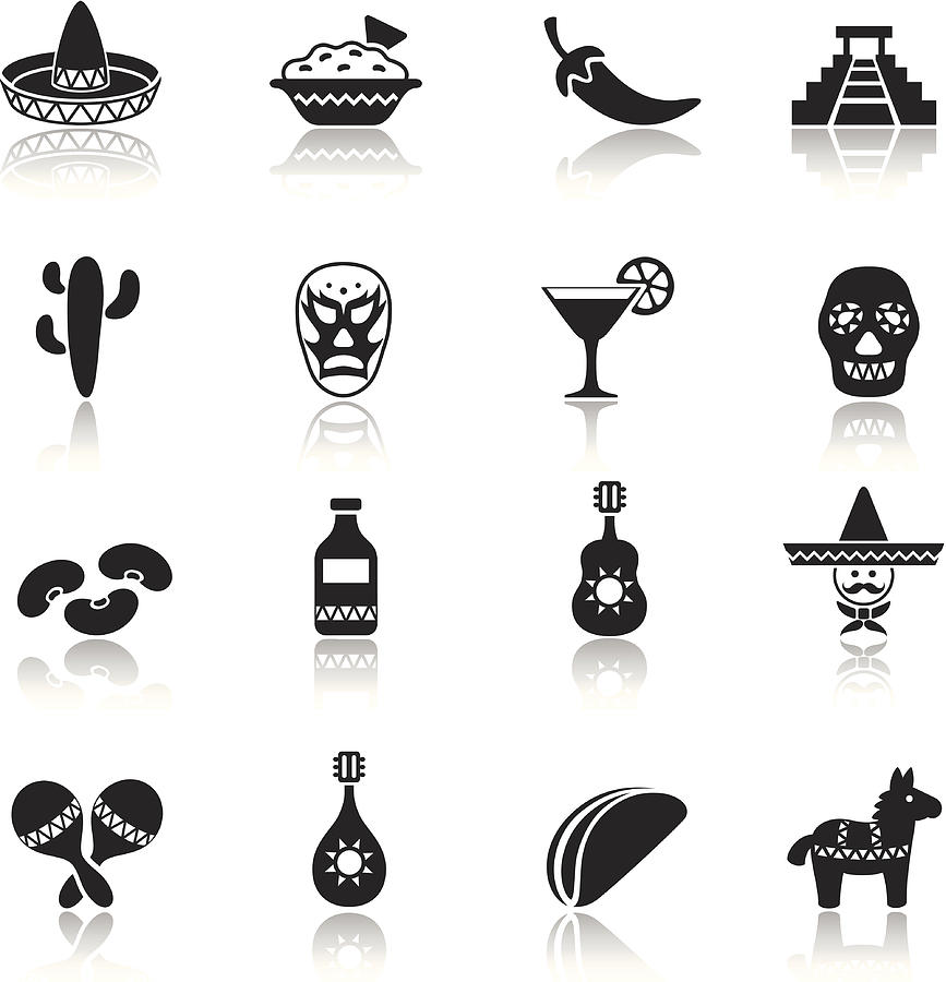 Mexican Icon Set Drawing by AlonzoDesign
