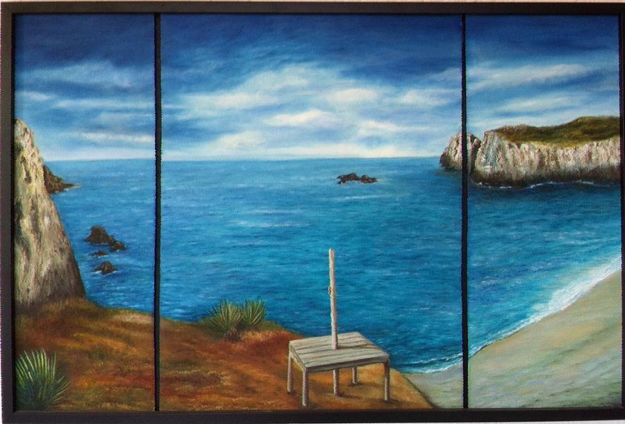 Blue Ocean Beach Mexico Rocks  Oaxaca Painting - Mexican Ocean Beach  by Nora Vega