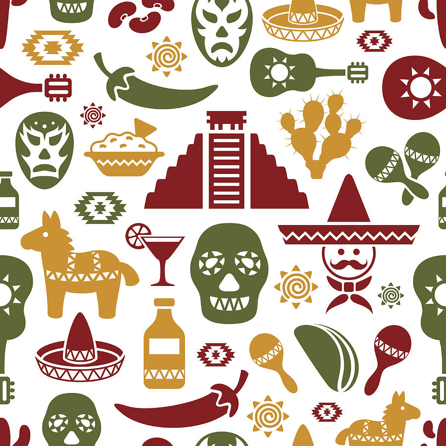 Mexican Pattern Drawing by AlonzoDesign