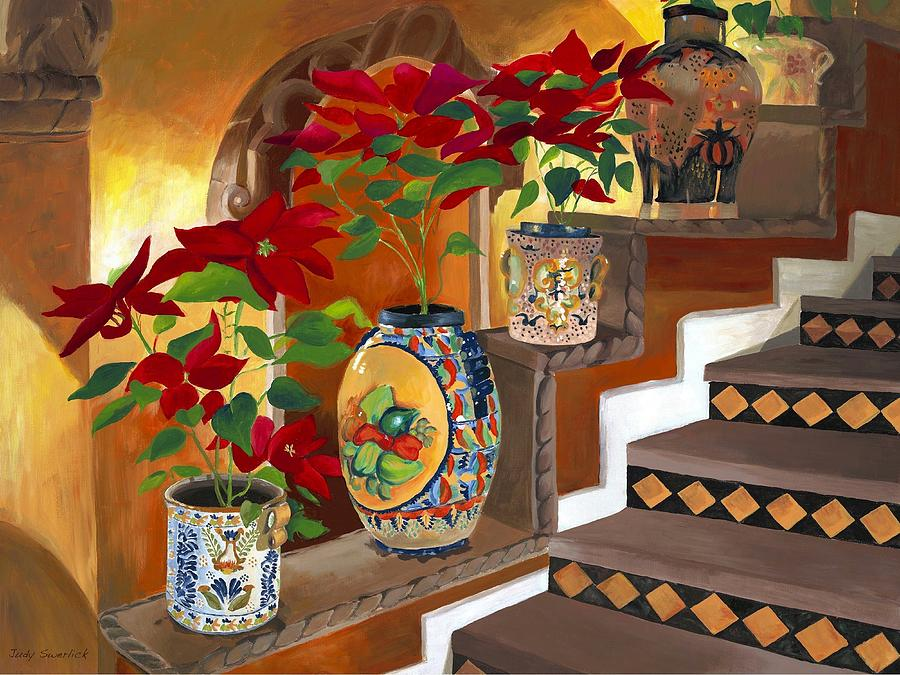 Mexican Pottery On Staircase Painting By Judy Swerlick