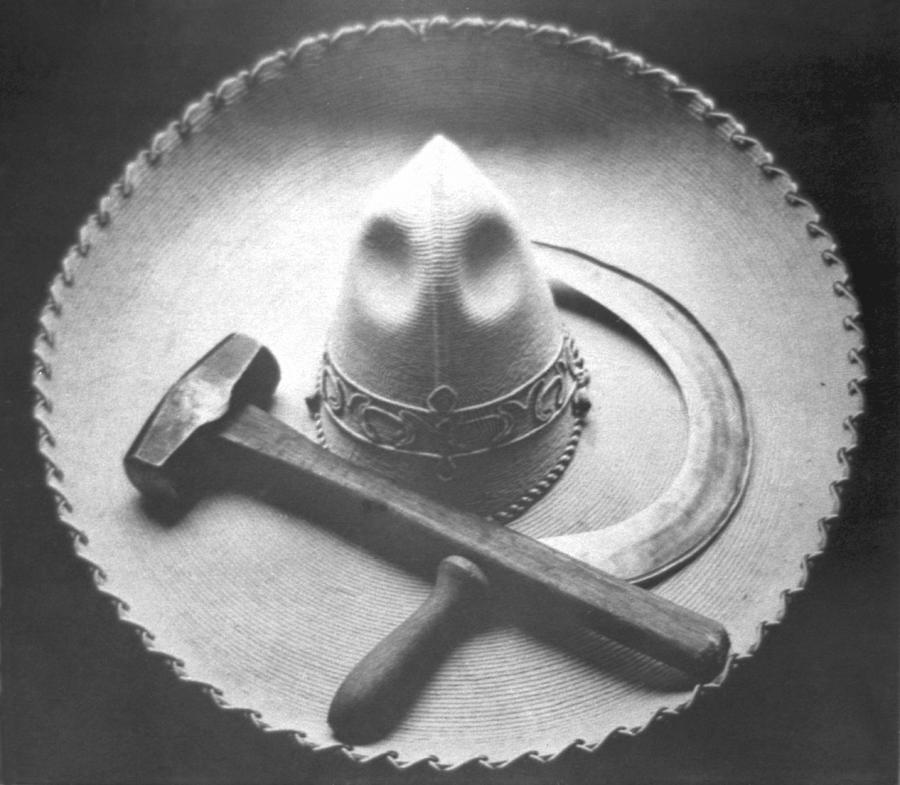 Mexican Photograph - Mexican Revolution Sombrero With Hammer by Tina Modotti