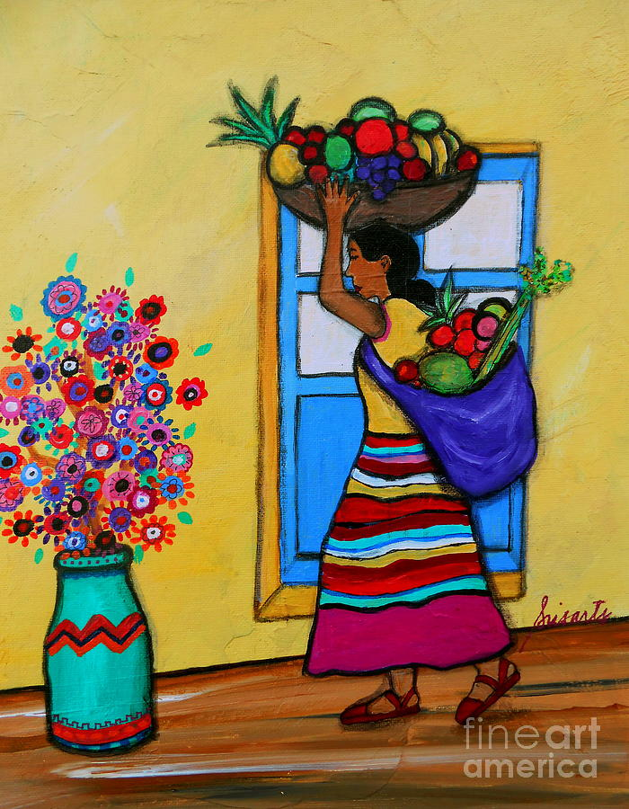 Fruit Painting - Mexican Street Vendor by Pristine Cartera Turkus