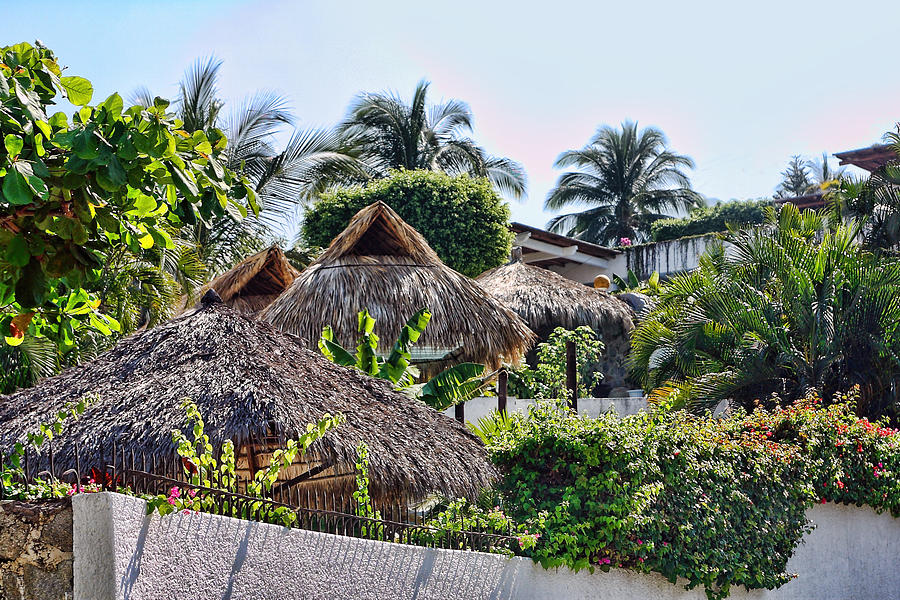 Travel Photograph - Mexican Thathed Roofs by Linda Phelps