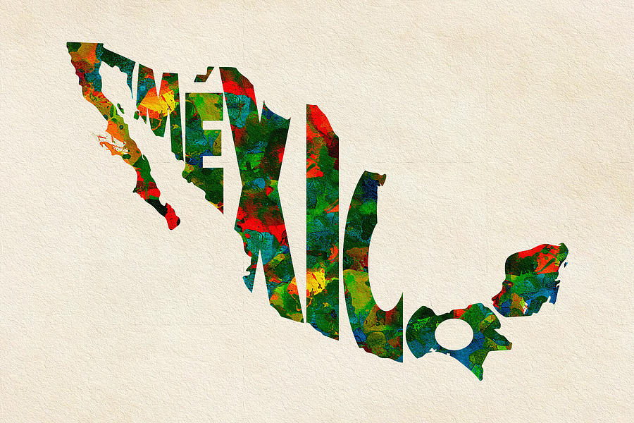 Mexico Painting - Mexico Typographic Watercolor Map by Inspirowl Design