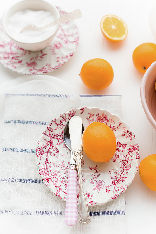 Meyer Lemons On Vintage Plate Photograph by Elizabeth Gaubeka
