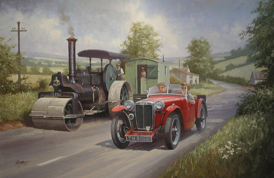 United Kingdom Painting - Mg Sports Car. by Mike  Jeffries