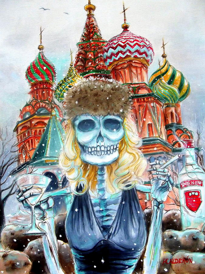 Day Of The Dead Painting - Mi Vodka by Heather Calderon