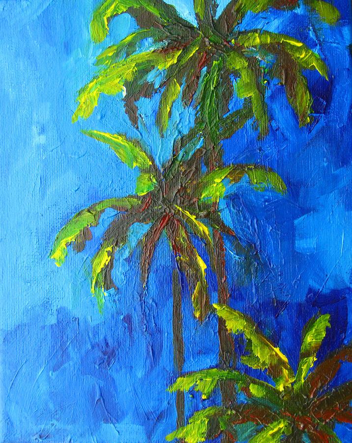 Landscape Painting - Miami Beach Palm Trees In A Blue Sky by Patricia Awapara