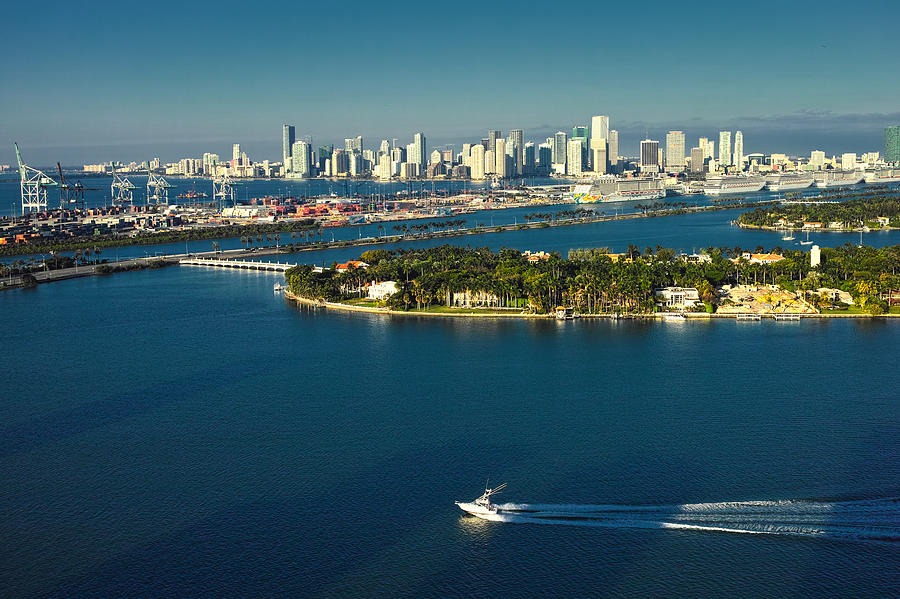 Miami City Biscayne Bay Skyline by Gary Dean Mercer Clark