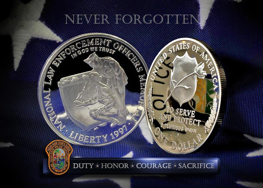 Law Enforcement Memorial Photograph - Miami Dade Police Memorial by Gary Yost