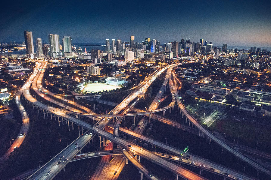 Miami downtown aerial view in the night Photograph by Franckreporter
