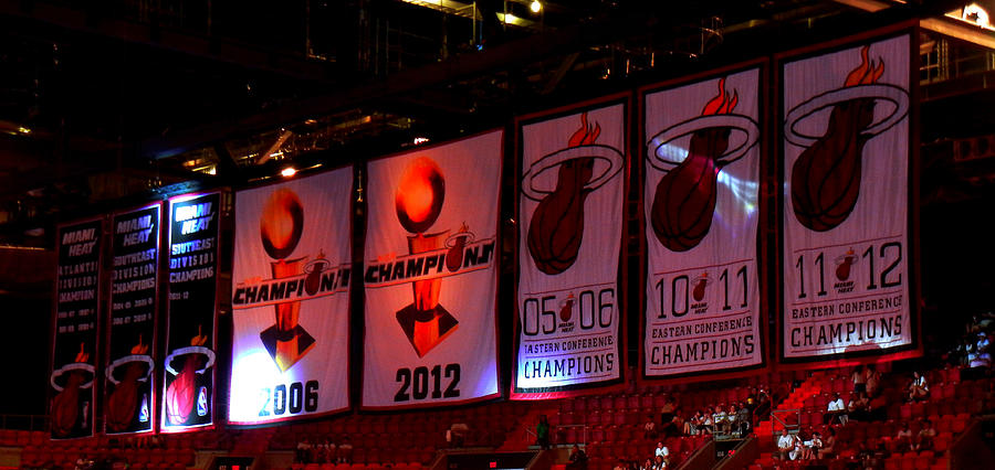 Miami Heat Championship Banners American Airlines Arena Lebron James Dwyane Wade Photograph - Miami Heat Banners by J Anthony