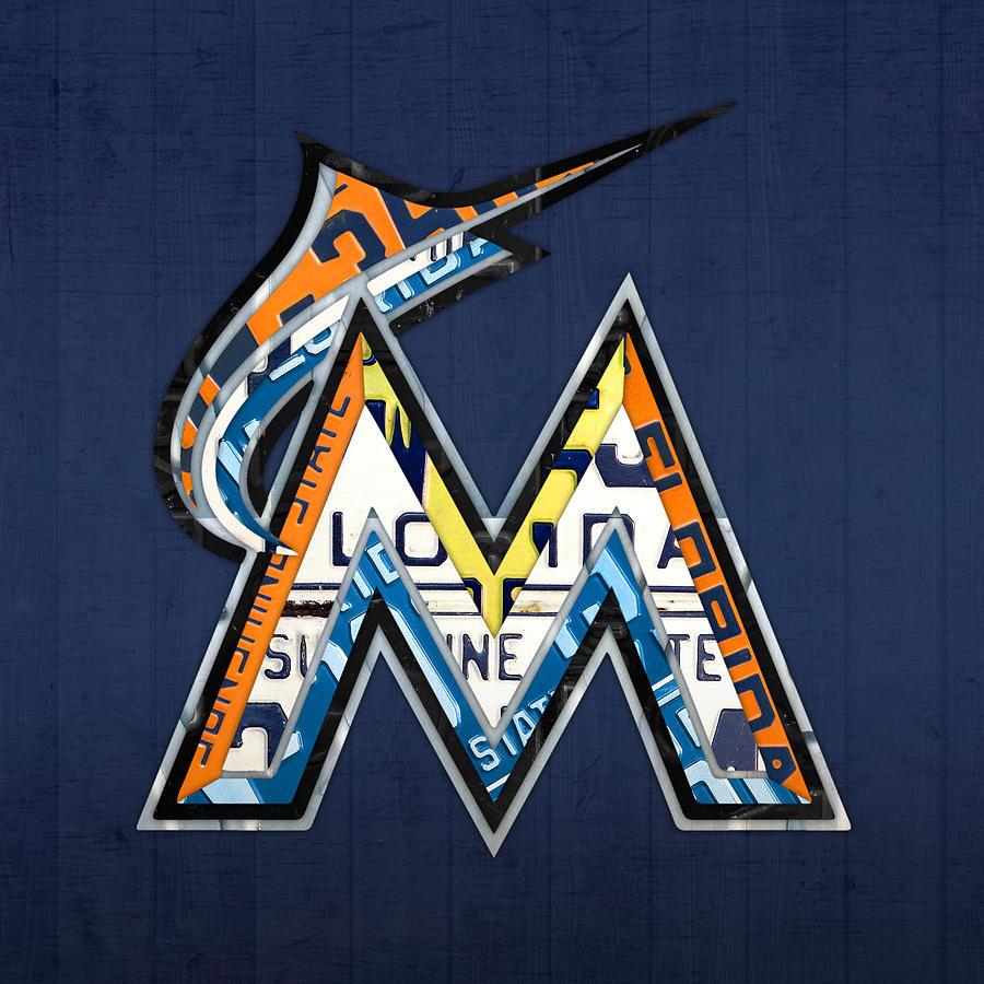 miami marlins baseball team vintage logo recycled florida