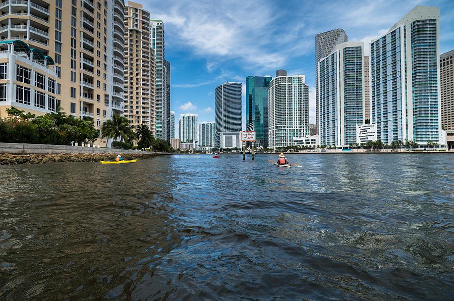 Brickell Key Photograph - Miami River Kayakers by Jonathan Gewirtz