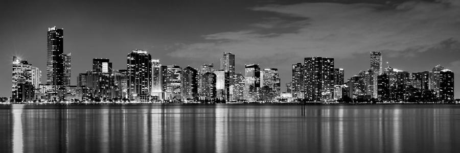 Miami Skyline At Dusk Black And White Bw Panorama