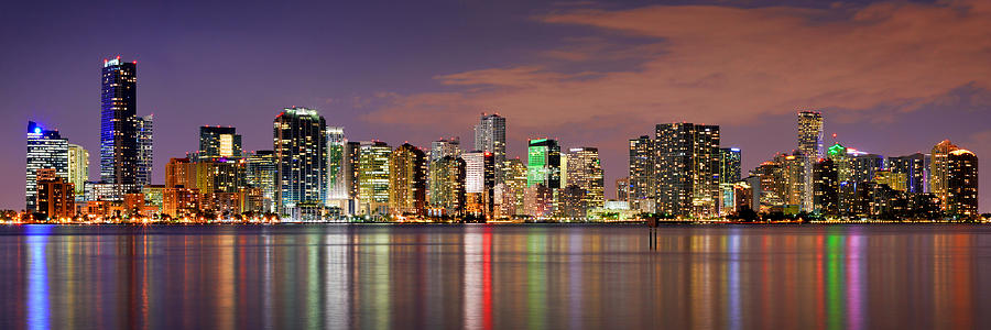 Miami Photograph - Miami Skyline At Dusk Sunset Panorama by Jon Holiday