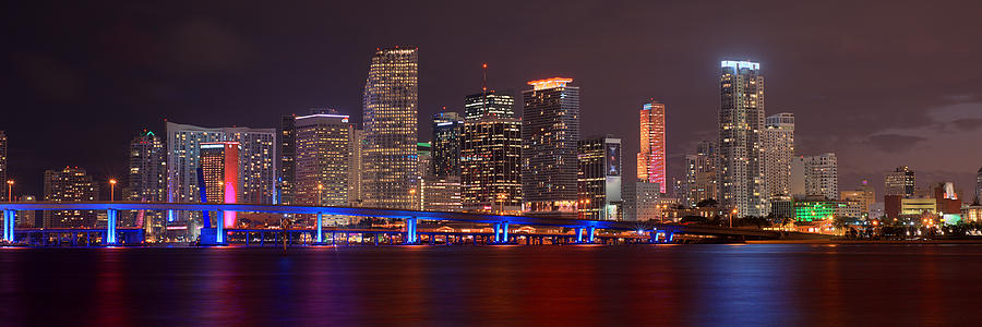 miami skyline at night panorama color photograph by jon holiday