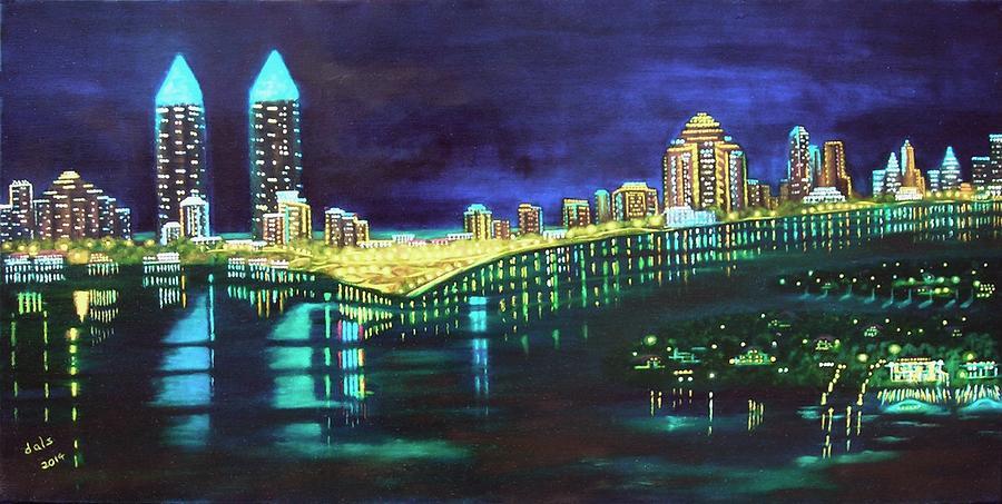 Miami Skyline of Lights by Douglas Ann Slusher