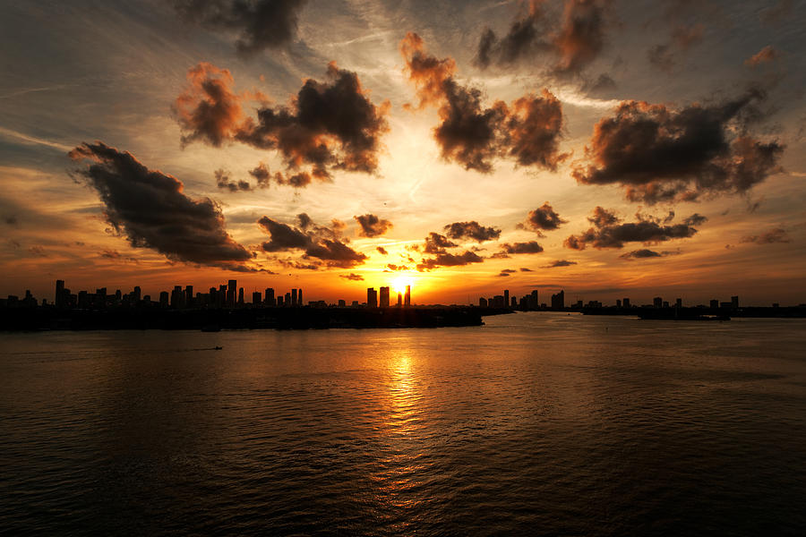 Miami Beach Photograph - Miami Skyline Sunset by Gary Dean Mercer Clark