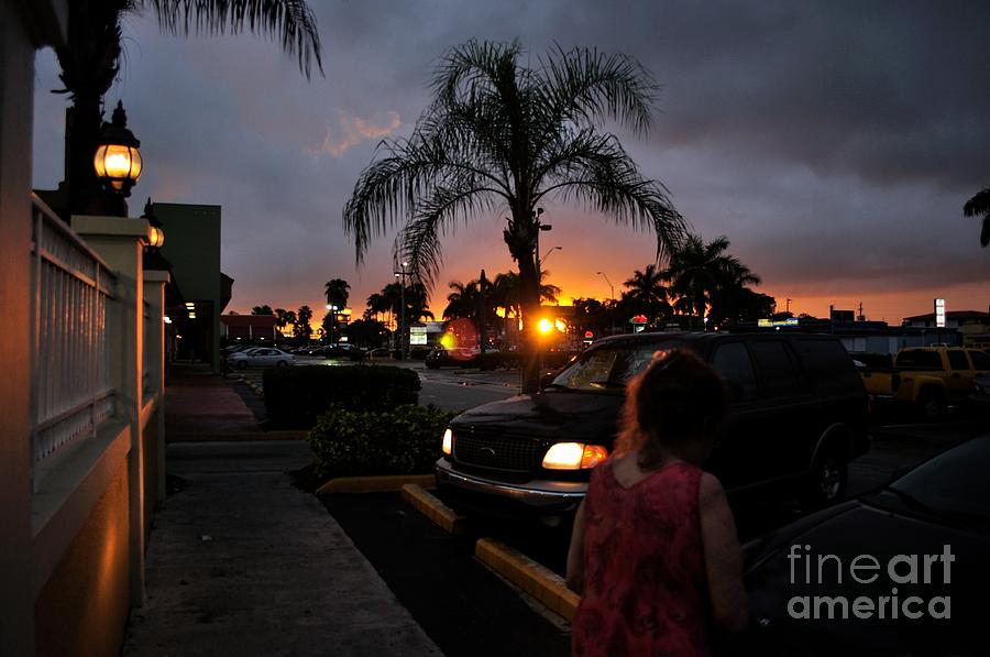 Miami Photograph - Miami Strip Mall Sunset by Andres LaBrada